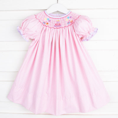 Birthday Smocked Bishop Light Pink Gingham