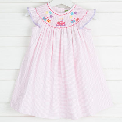 Birthday Smocked Dress Light Pink Seersucker Stripe