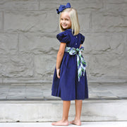 Blue Corduroy Dress w Scottish Plaid Sash