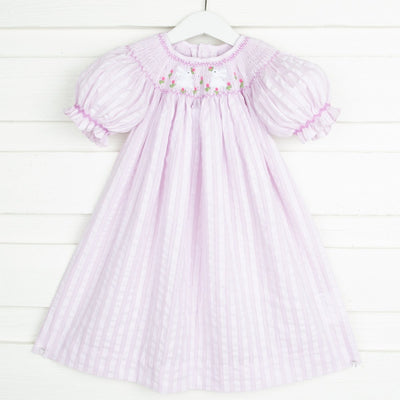 Bunny Field Smocked Bishop Lavender Stripe