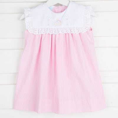 Celebration Embroidery Bib Dress Light Pink Gingham