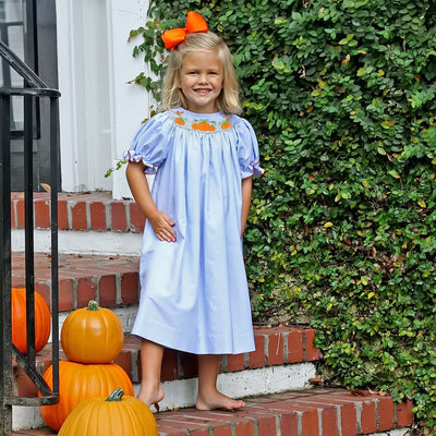 Chambray Pumpkin Cluster Smocked Bishop