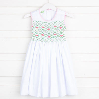 Chest Smocked Geometric Dress White Pique