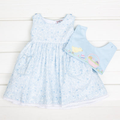 Chick Reversible Toile Dress Light Blue