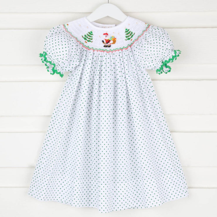 Christmas Smocked Bishop White and Green Polka Dots