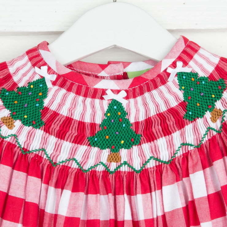 Christmas Tree Smocked Bishop Red Check