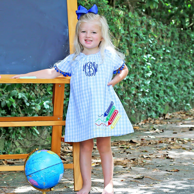 Crayon Applique Dress White and Blue Gingham