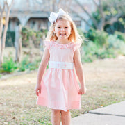 Cross Smocked Sash Dress Pink Pique