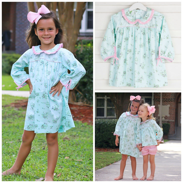 Delicate Floral Collared Lillian Dress Long Sleeve Mint