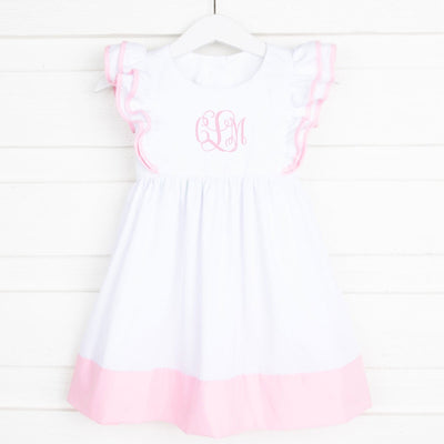 Double Ruffle Dress White and Pink