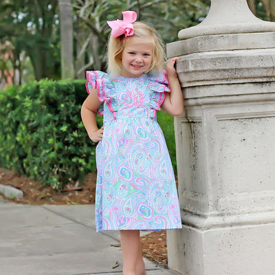 Double Ruffle Spring Paisley Tie-Back Dress