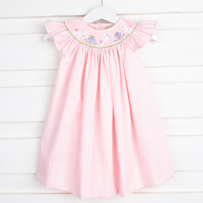 Easter Smocked Dress Pink Pique