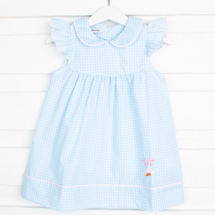 Embroidered Bunny Dress Aqua Gingham