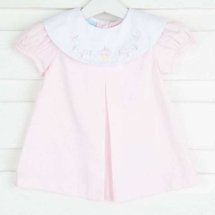 Embroidered Cupcake Collar Dress Light Pink