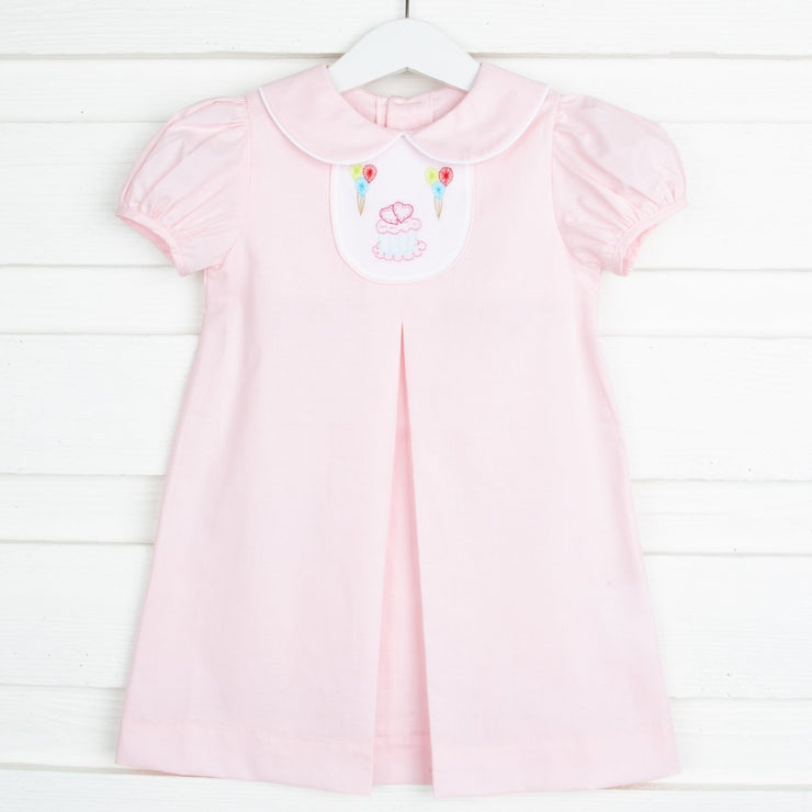 Embroidered Cupcake Tab Dress Light Pink