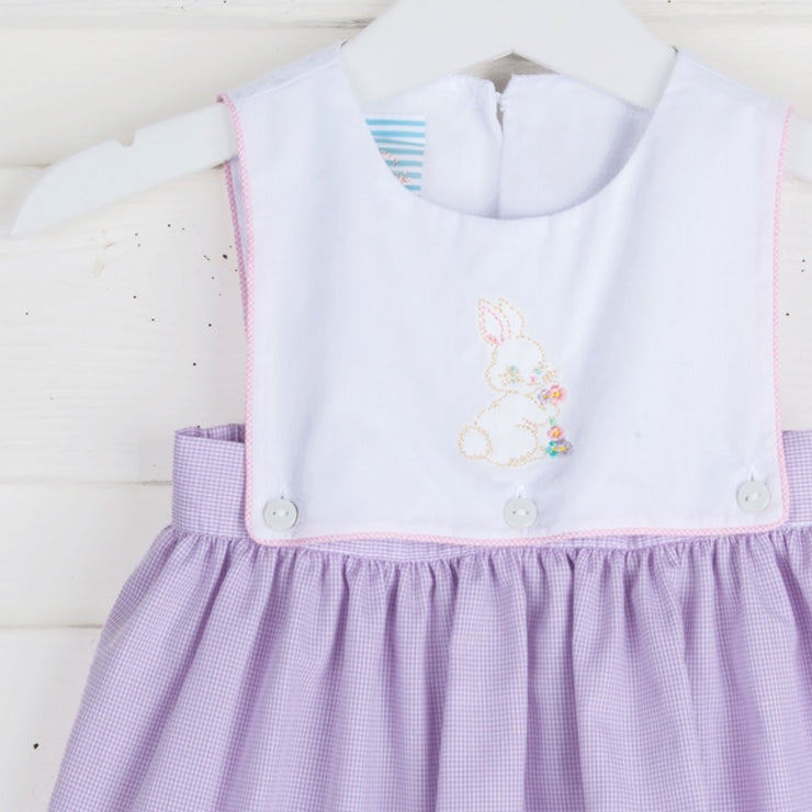 Embroidered Vintage Bunny Bib Dress Lavender Gingham