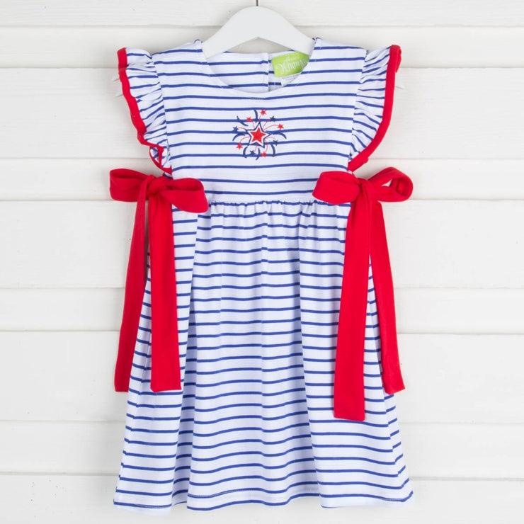Fireworks Applique Avery Dress Knit Stripe White and Blue