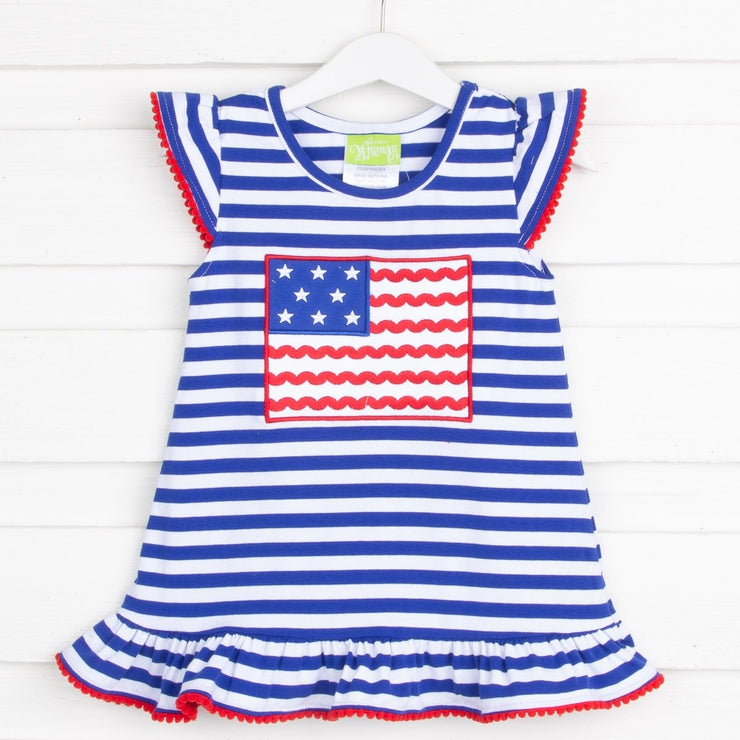 Flag Applique Dress Royal Knit Stripe