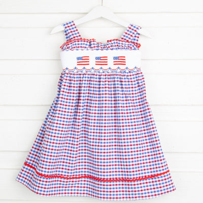 Flag Smocked Tie Back Dress Patriotic Plaid Seersucker