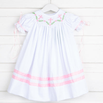 Floral Vine and Cross Smocked Bishop White Pique