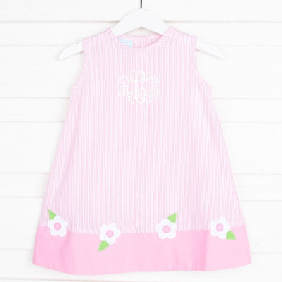 Flower Applique Sundress Light Pink Stripe