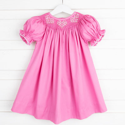 French Knot Heart Smocked Bishop Hot Pink