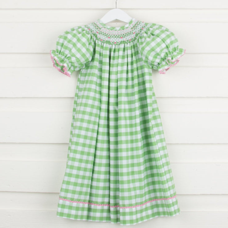 Geometric Smocked Bishop Spring Green Check