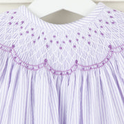 Geometric Smocked Dress Lavender Seersucker Stripe