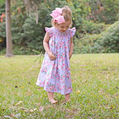 Geometric Smocked Lavender Blooms Dress