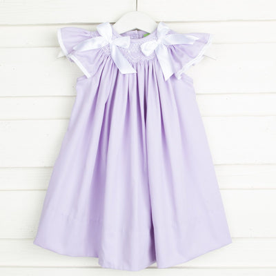 Geometric Smocked Ribbon Dress Lavender Pique