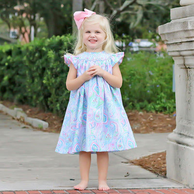 Geometric Smocked Spring Paisley Dress
