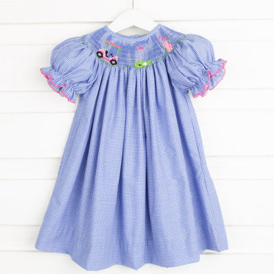 Golf Smocked Bishop Royal Blue Gingham