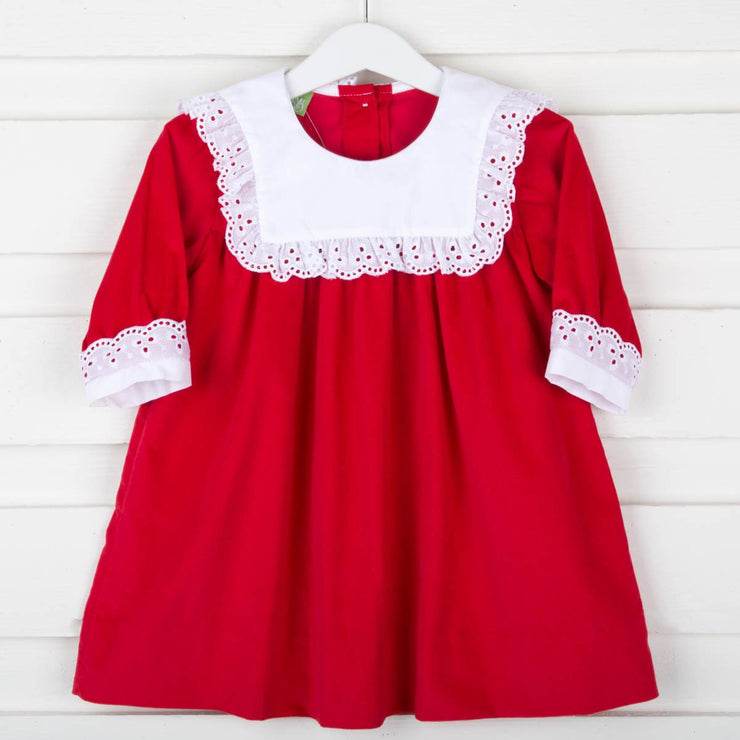 Hattie Long Sleeve Dress Red Corduroy