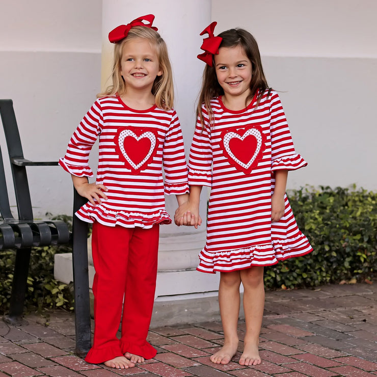 Heart Applique Dress Red Knit Stripe