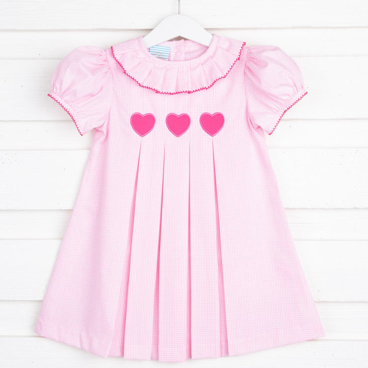Heart Applique Pleated Collar Dress Pink Gingham