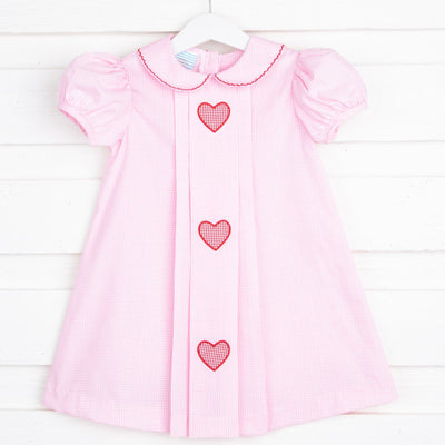 Heart Applique Pleated Dress Light Pink Gingham