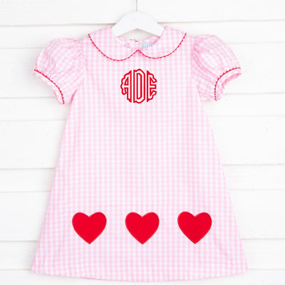 Heart Applique Sally Dress Pink Gingham