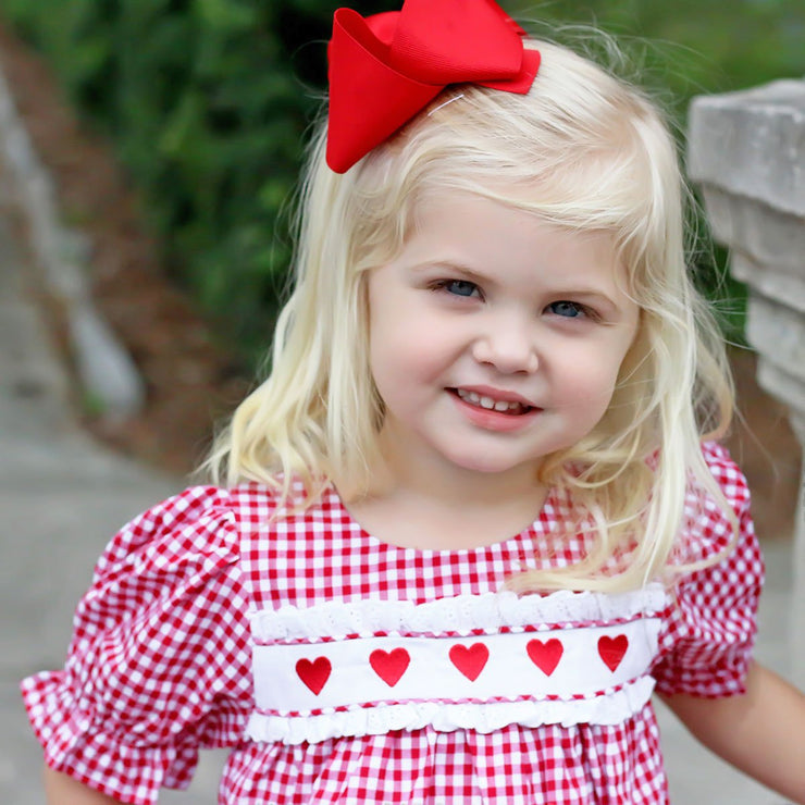 Heart Embroidered Bishop Dress Red Gingham