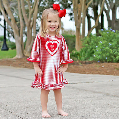 Heart Knit Dress Red Stripe
