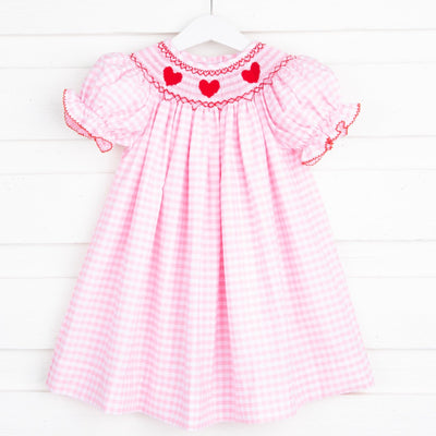 Heart Smocked Bishop Pink Gingham