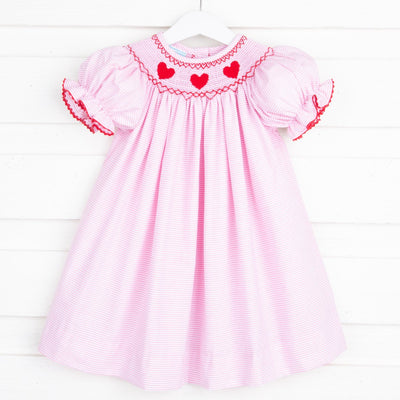 Heart Smocked Bishop Pink Stripe
