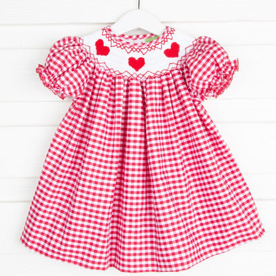 Heart Smocked Bishop Red Check
