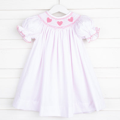 Heart Smocked Bishop White and Pink Dot
