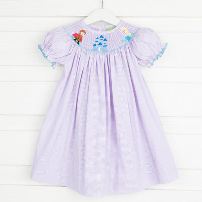 Ice Princess Smocked Bishop Lavender Gingham