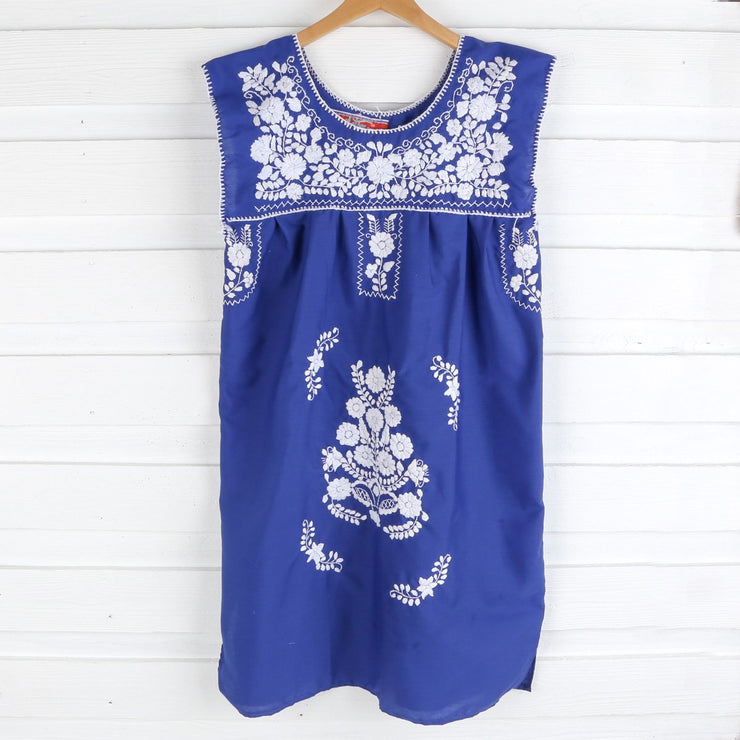 Ladies Royal Blue Embroidered Dress