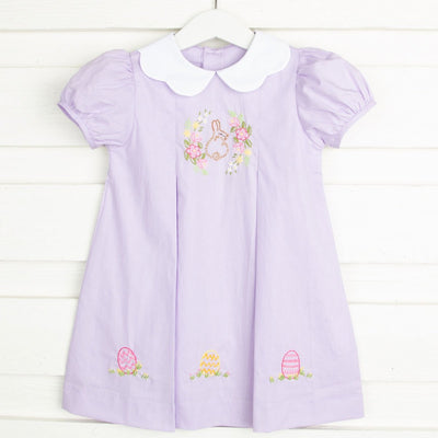 Lavender Easter Wreath Collar Dress