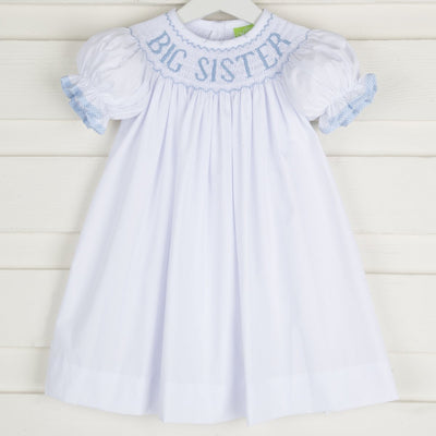 Light Blue Big Sister Smocked Bishop White
