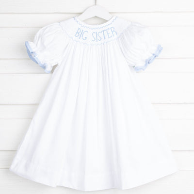 Light Blue Big Sister Smocked Bishop White Pique