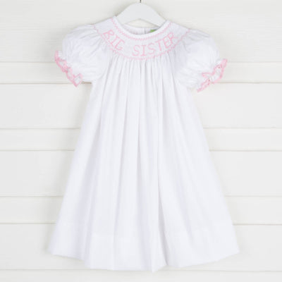 Light Pink Big Sister Smocked Bishop White