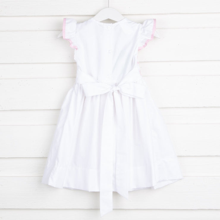 Light Pink Geometric Chest Smocked Dress White Pique